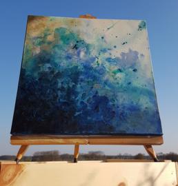 Blauwe golf schilderij