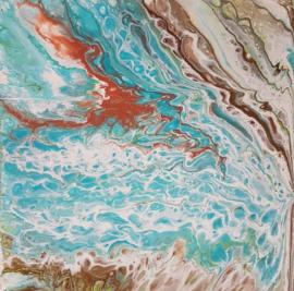 Schilderij brons wit turquoise acryl gieten
