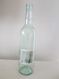 Fles met tulpen aquarel : sfeerlicht, nootjes, suikerpot of vaasje.