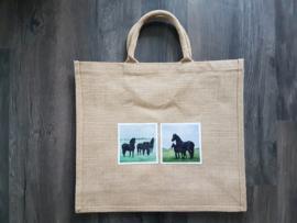 Jute shopper tas met aquarel afbeeldingen paarden