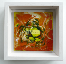 Schilderij groen oranje acryl gieten
