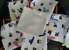baby label cloth of cows (soft fabric behind)