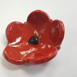Rode bloem keramiek (enkel)