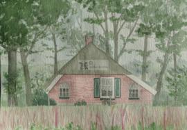 Landschap oude Sallandse boerderij aquarel schilderij