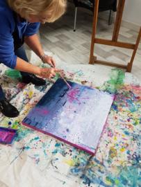 Resultaat Zaterdag 31 oktober: mixed media met acrylverf in Raalte