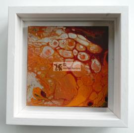Schilderij oranje zilver acryl gieten