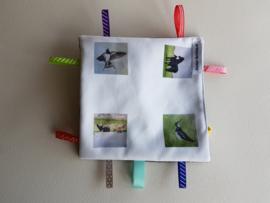 baby labeldoekje: koe, paard, kievit, boeren zwaluw (zachte achterkant)