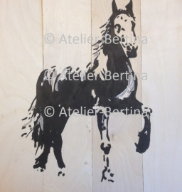 Horse on wood scaffolding