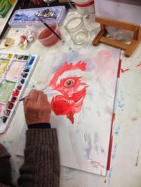 Workshop: aquarel schilderen op papier op uw locatie (datum in overleg)