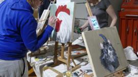 Resultaten 3 maart 2017 team uitje op locatie workshop schilderen