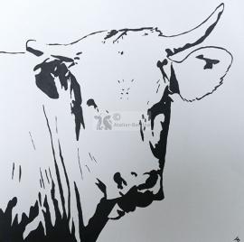 Blonde vlees koe acryl schilderij