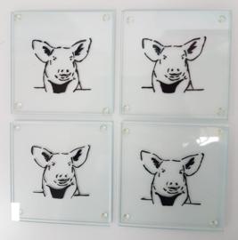 4 x glazen onderzetters varken