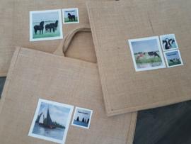Fryske paarden jute shopper tas (Moai Fyslân)