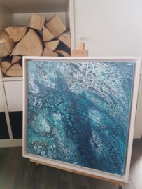 blauw acryl gieten 40 x 40 cm