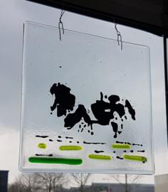 Koeien raamhanger van glas