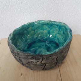 Grote turquoise schaal keramiek