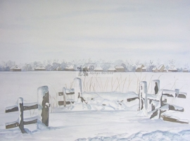 Zaun im Winter Aquarell