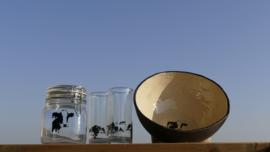 Koe servies set: grote schaal, weckpot en 2 glazen