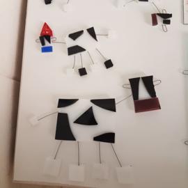 Koe beeld van glasfusion zwart wit (groot)