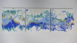Drie luik: blauw en turquoise, acryl gieten 20  x 60 cm