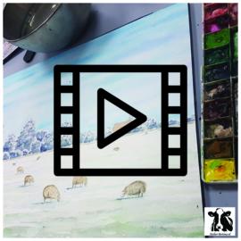 Live les / tutorial aquarel: schapen in de winter