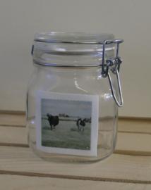Landelijke koeien weckpot /  voorraadpot