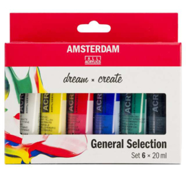 6 x Acrylverf Amsterdam 20 ml