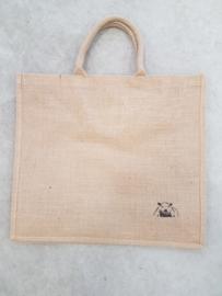 Jute shopper tas met schildering schaap
