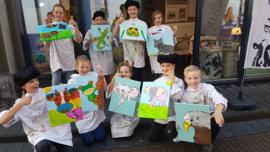 Kinderfeestje dier schilderen op canvas