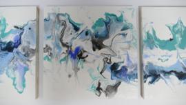 Drie luik: blauw acryl gieten 20  x 60 cm