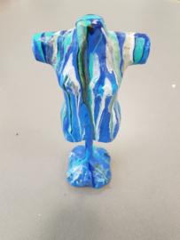 Torso blauw beeld (acryl gieten)