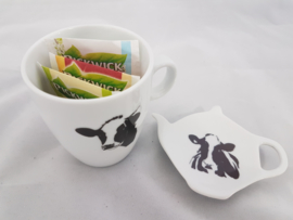 Tea bag holder and mug cow gift