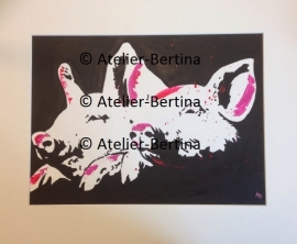 Piglets acrylic painting on paper and Mat