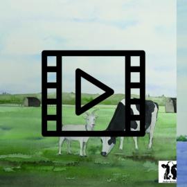 Live les / tutorial aquarel: geit en koe landschap