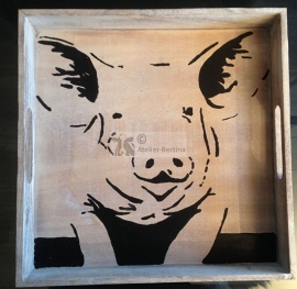 Tray 32 x 32 cm wood painted with pig