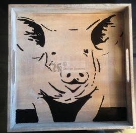 Dienblad 32 x 32 cm hout beschilderd met varken