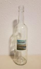 Fles met de zeedijk bij de waddenzee: sfeerlicht, nootjes, suikerpot of vaasje. (Moai Fryslân)