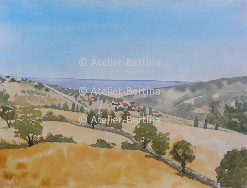 Landschap aquarel schilderij