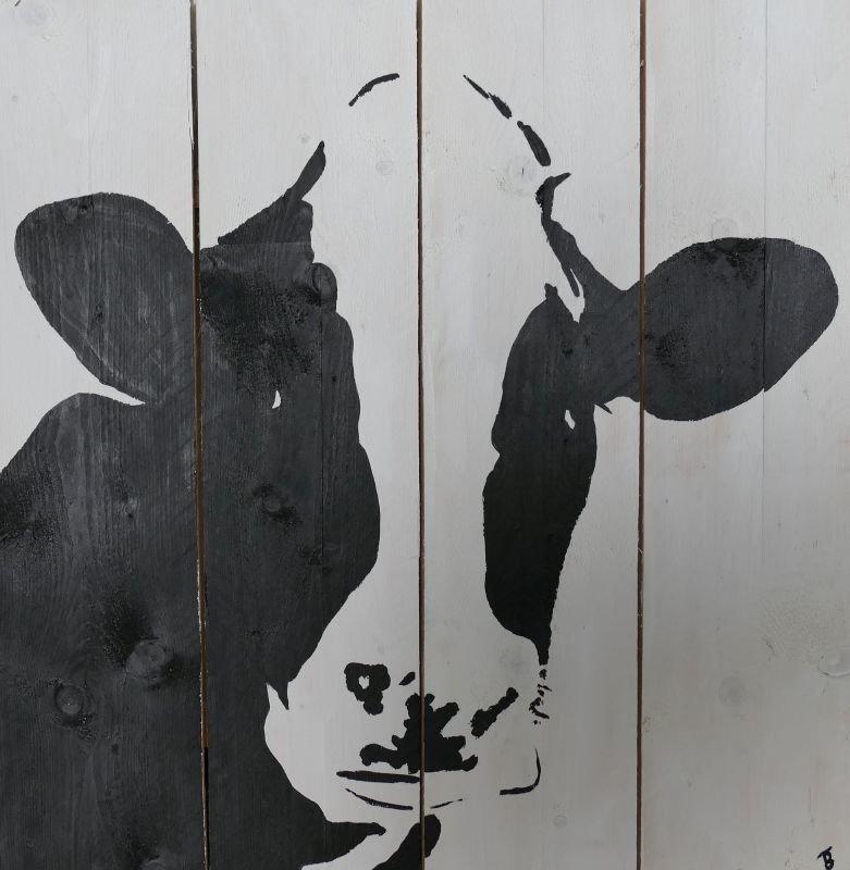 Cow on scaffold wood painting