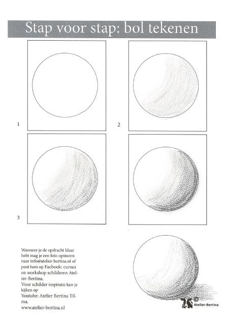 Gratis leskaart: stap voor stap schetsen van een bol