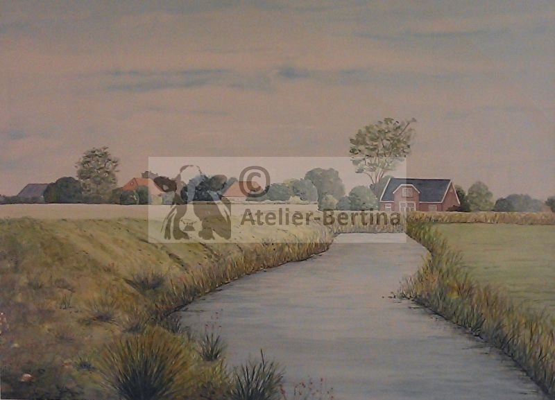 Landscape watercolor painting