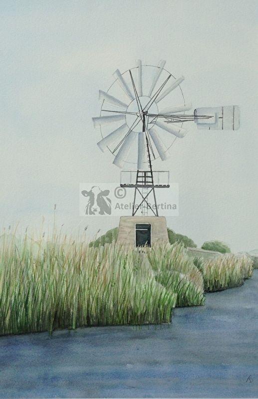 Aquarellmalerei Mühle