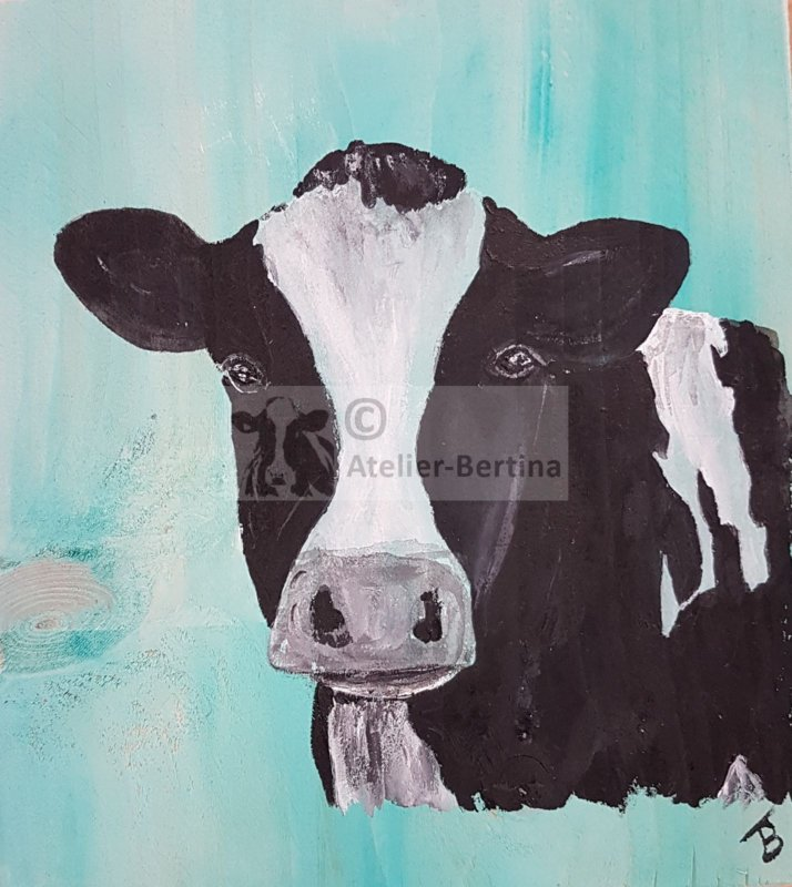 Cow on scaffolding wood (small) 20 x 20 cm