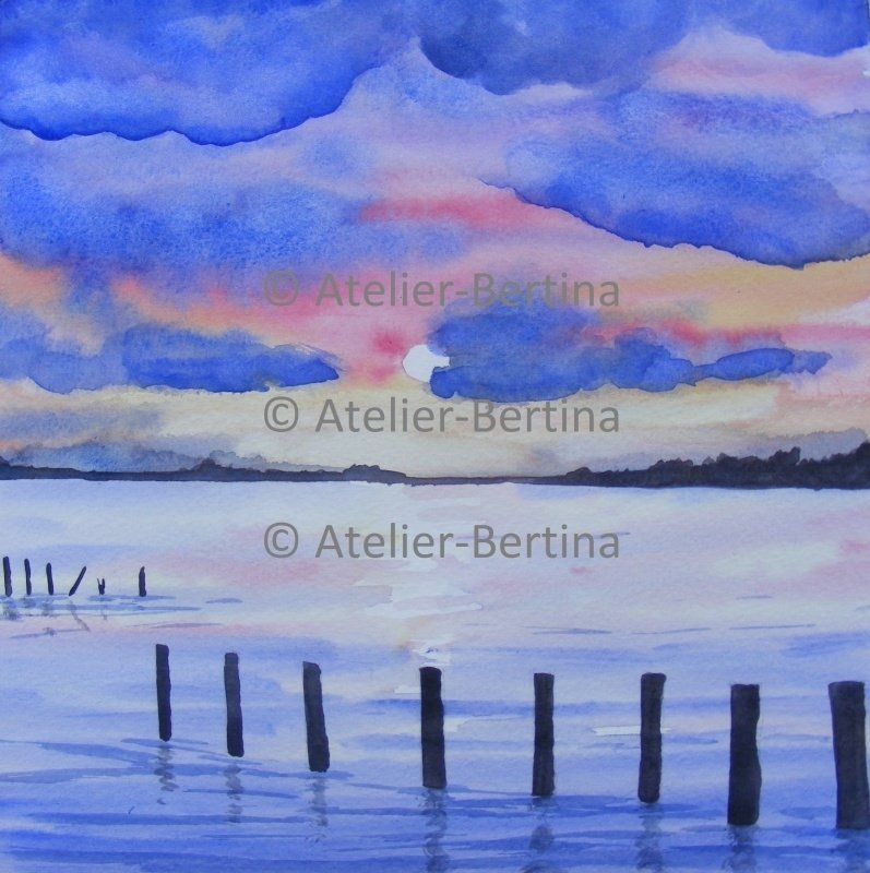 Zonsondergang aqauarel schilderij