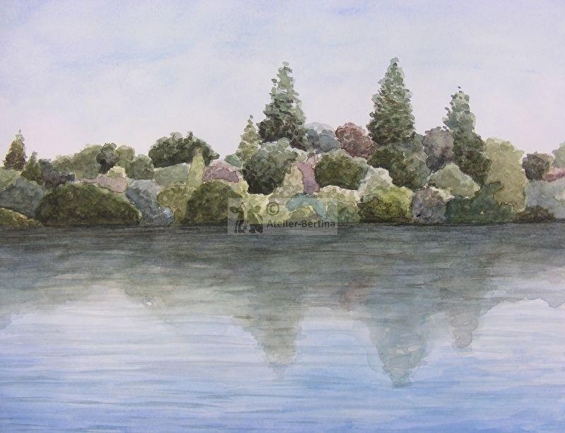 Bosrand aan het water aquarel schilderij