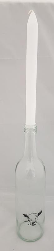 Flasche mit Ziegemalerei: Stimmungslicht, Nüsse, Zuckerdose oder Vase