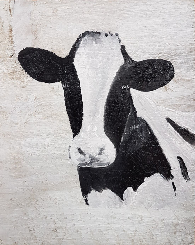 Cow on scaffolding wood (small) 20 x 20 cm