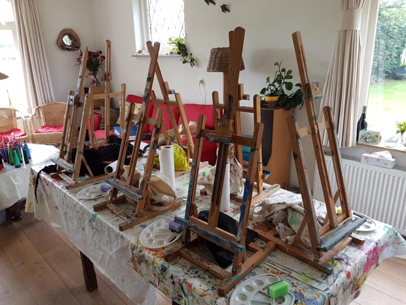 Resultaten gezin workshop schilderen op locatie Broekland 2019