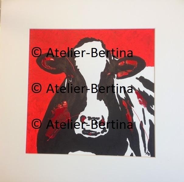 Koe rood acryl schilderij