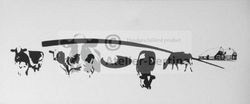 Koeien, logo en woning , acryl schilderij